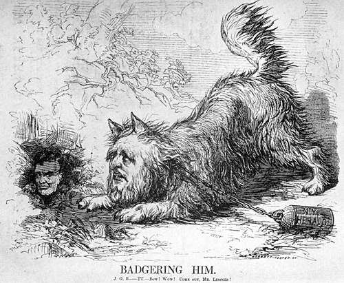 "vanity fair illustration about Bennett ""badgering"" Abraham Lincoln"