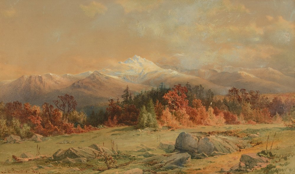 James David Smillie, Panoramic Autumn Vista with Snowcapped Mountains in the Distance, Watercolor